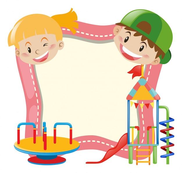 Achtergrond sjabloon met kinderen en speeltuin