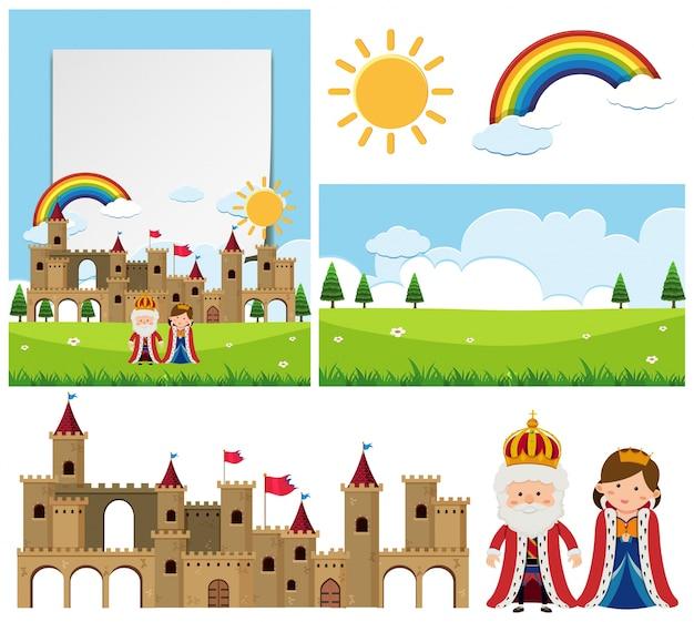 Achtergrond sjabloon met koning en koningin