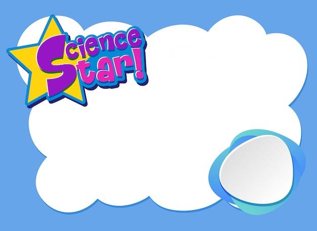 Achtergrond sjabloonontwerp met blauw frame en woord science star
