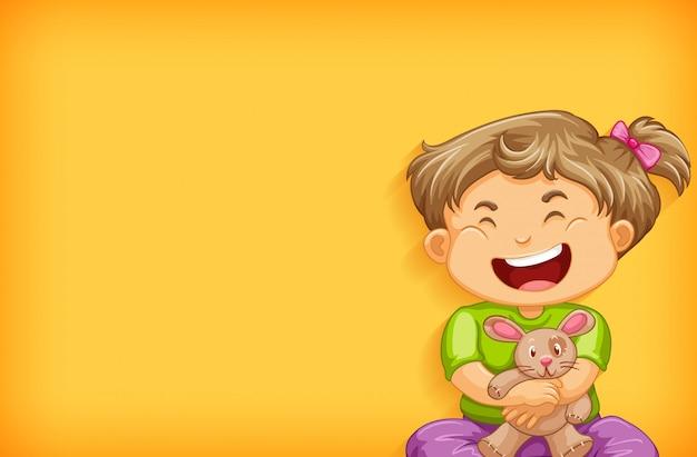 Achtergrond sjabloonontwerp met gelukkig meisje en konijn pop