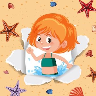 Achtergrond sjabloonontwerp met gelukkig meisje en zeester
