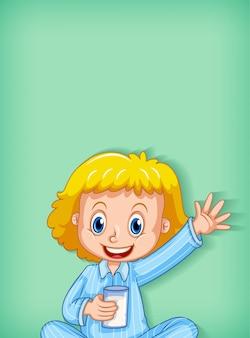 Achtergrond sjabloonontwerp met gelukkig meisje in blauwe pyjama
