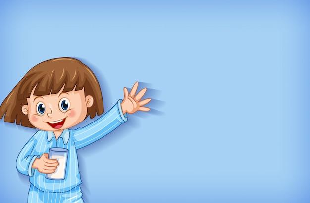 Achtergrond sjabloonontwerp met gelukkig meisje in pyjama