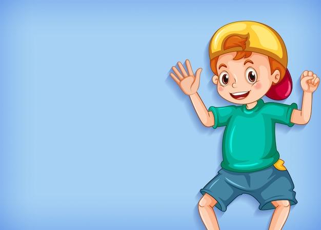 Achtergrond sjabloonontwerp met gelukkige jongen zwaaiende hand