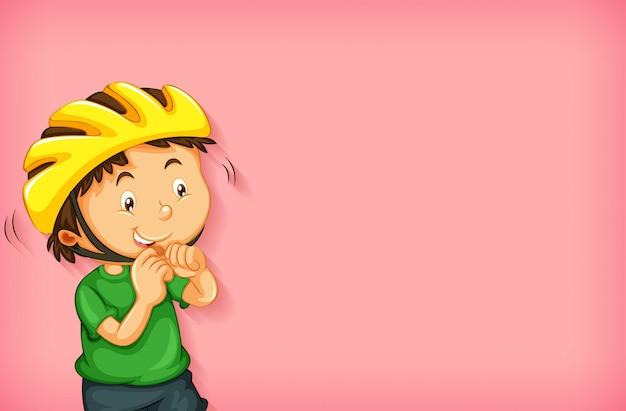 Achtergrond sjabloonontwerp met jongen in gele helm