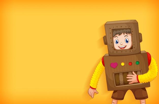 Achtergrond sjabloonontwerp met jongen in robot kostuum