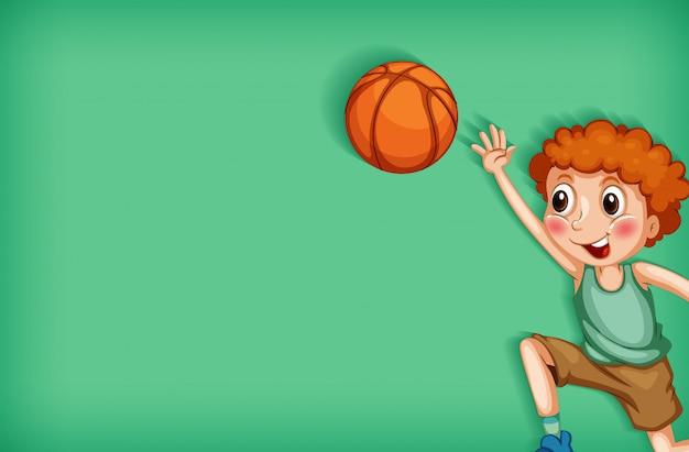Achtergrond sjabloonontwerp met jongen speelbasketbal