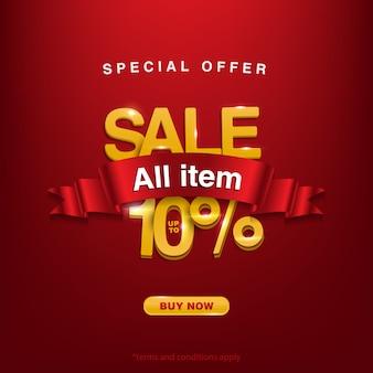 Achtergrond speciale aanbieding verkoop alle items tot 10%