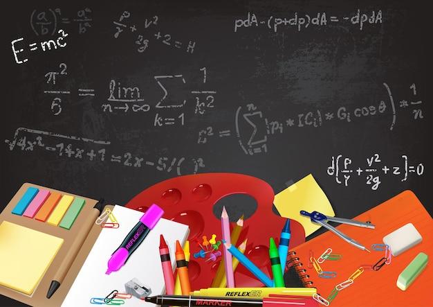 Achtergrond terug naar school met hulpmiddelen en vergelijkingen