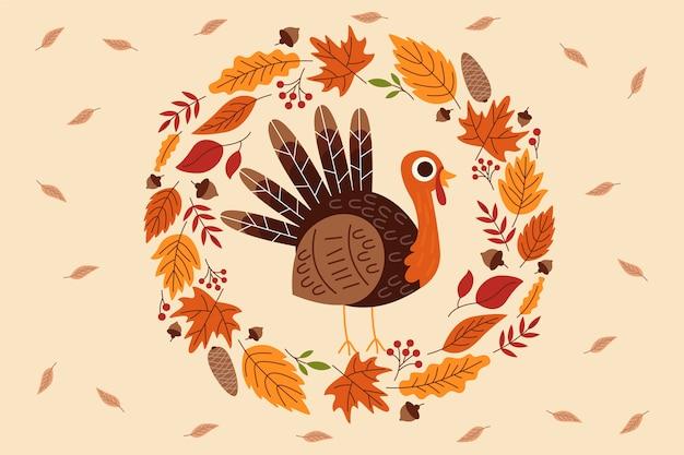 Achtergrond thanksgiving in plat ontwerp