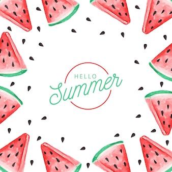 Achtergrond van aquarel watermeloen. hallo zomer