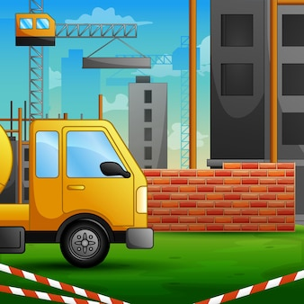 Achtergrond van betonmixer vrachtwagen op bouwplaats