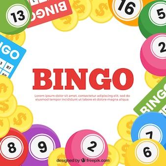 Achtergrond van bingo ballen en munten