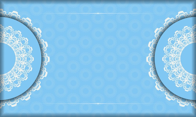 Achtergrond van blauwe kleur met mandala wit patroon voor ontwerp onder de tekst