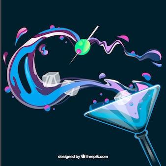 Achtergrond van cocktailglas met olijf