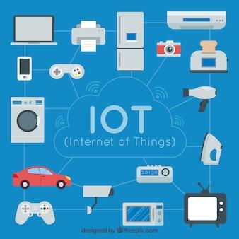 Achtergrond van dagelijkse objecten die verbonden zijn met internet