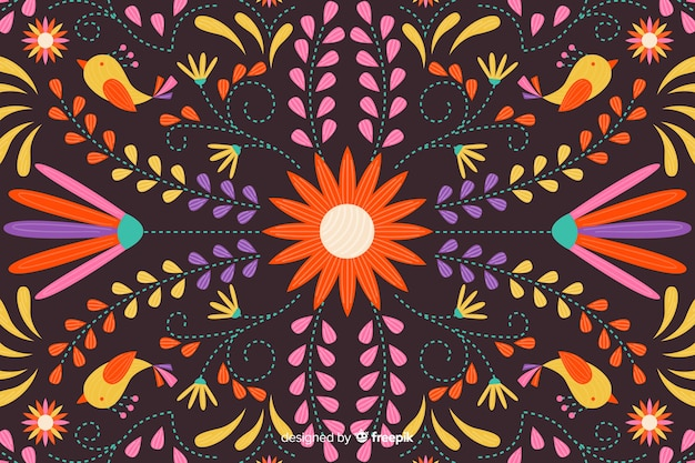 Achtergrond van de borduurwerk de mexicaanse bloem