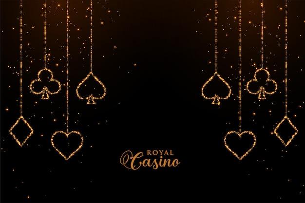 Achtergrond van de casinospeelkaarten de gouden fonkeling