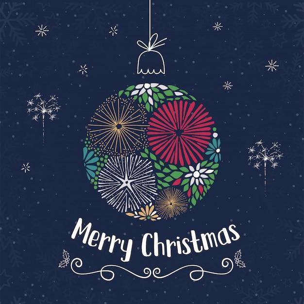 Achtergrond van de de bal de blauwe hemel van kerstmis op het ontwerp van de groetkaart.