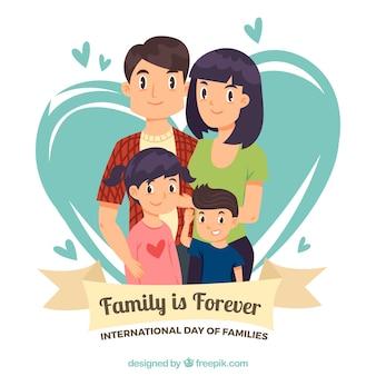 Achtergrond van de familie met twee kinderen