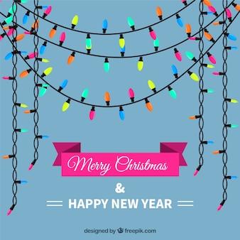 Achtergrond van de gelukkige kerst en nieuwjaar met gekleurde koordlichten