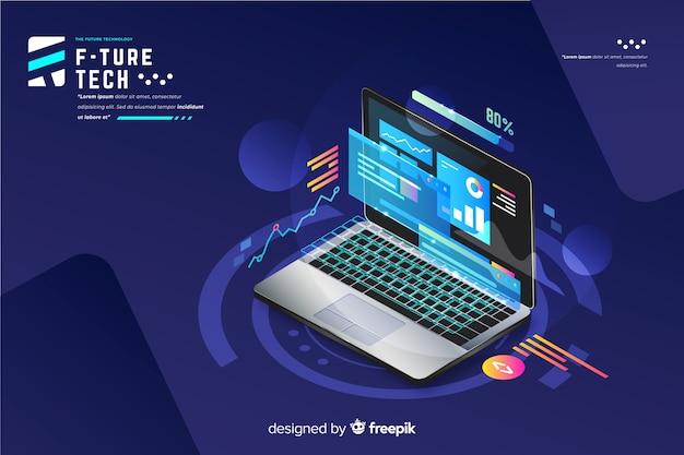 Achtergrond van de gradiënt de isometrische laptop technologie