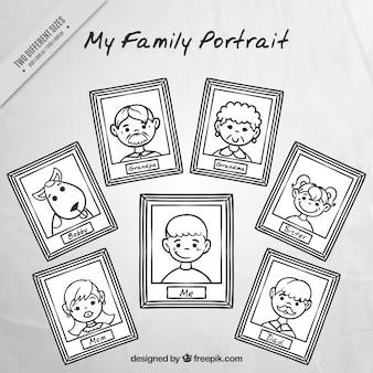 Achtergrond van de hand getekende familieportretten