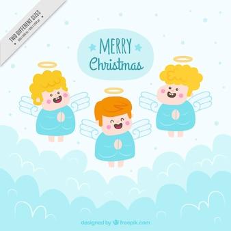 Achtergrond van de hand getekende grappig engelen in de hemel