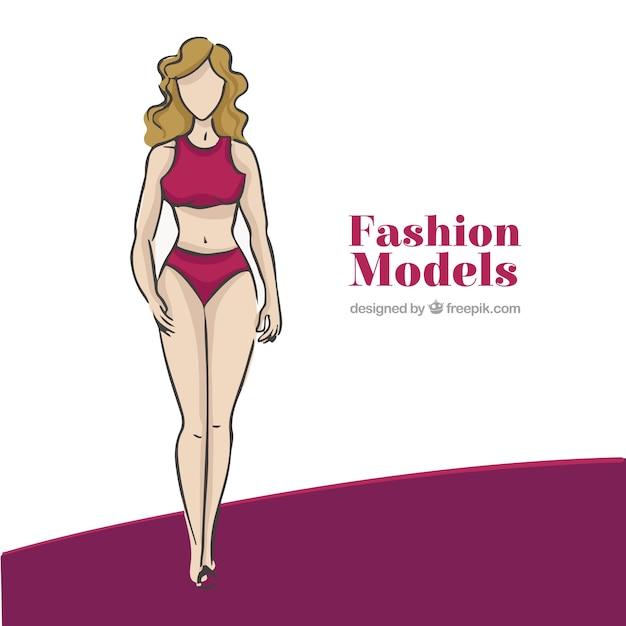Achtergrond van de hand getekende model dragen van ondergoed