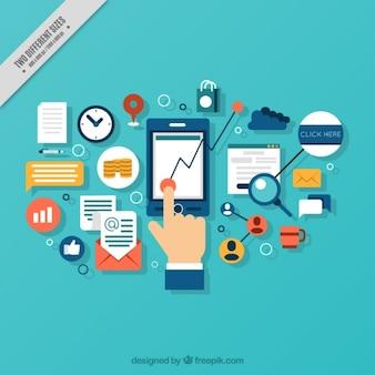 Achtergrond van de hand met mobiele en digitale elementen