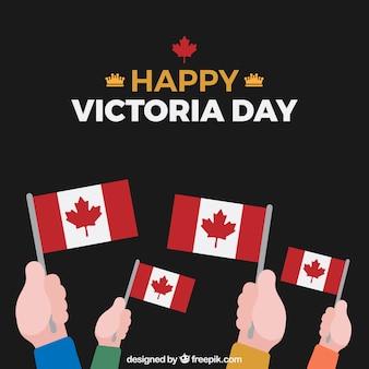 Achtergrond van de handen met canada vlaggen