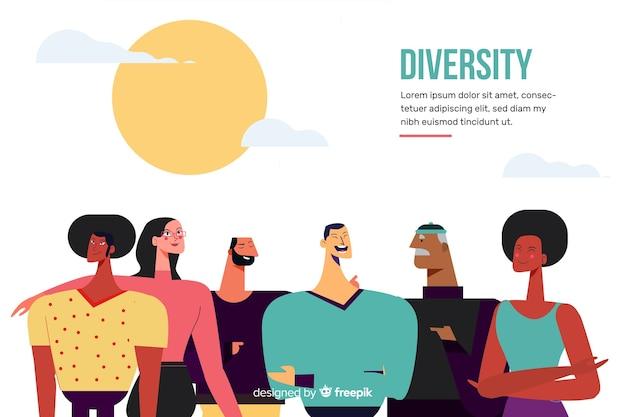 Achtergrond van de het concepten de vlakke stijl van de diversiteit