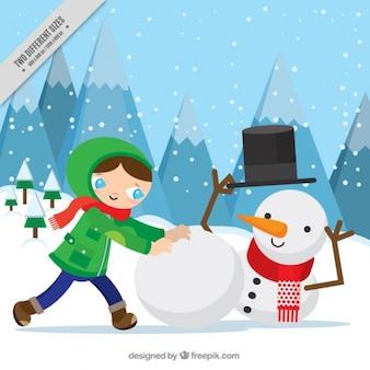 Achtergrond van de jongen het maken van een sneeuwpop