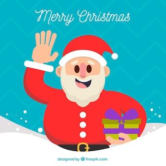 Achtergrond van de kerstman die met een cadeau golft