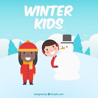 Achtergrond van de kinderen het maken van een sneeuwpop