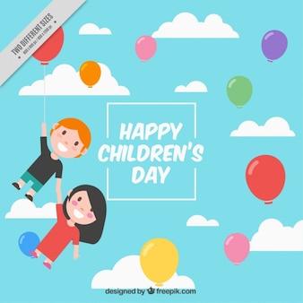Achtergrond van de kinderen vliegen onder kleurrijke ballonnen