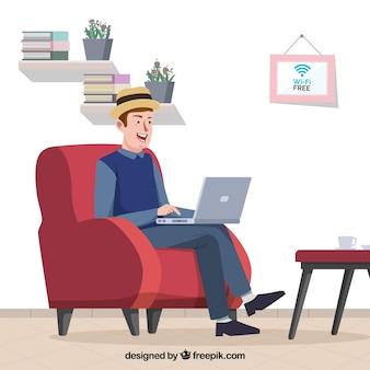 Achtergrond van de man die comfortabel met een laptop werkt