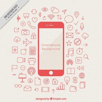 Achtergrond van de mobiele met pictogrammen schetsen