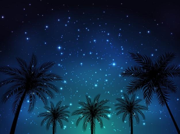 Achtergrond van de nacht de glanzende sterrige hemel met palmbladen. illustratie