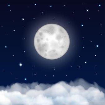 Achtergrond van de nachtelijke hemel met maan, sterren en wolken