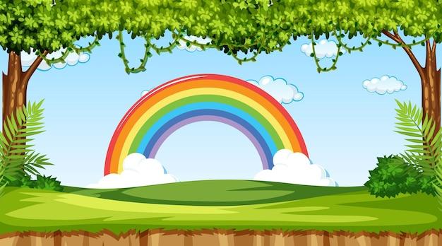 Achtergrond van de natuurscène met regenboog in de lucht Premium Vector