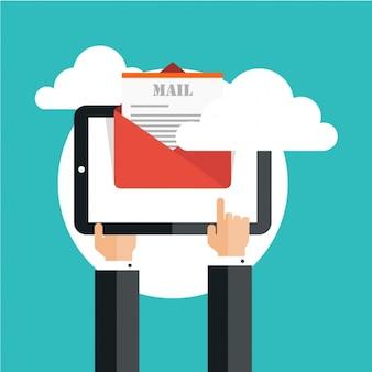 Achtergrond van de ondernemer met behulp van een tablet