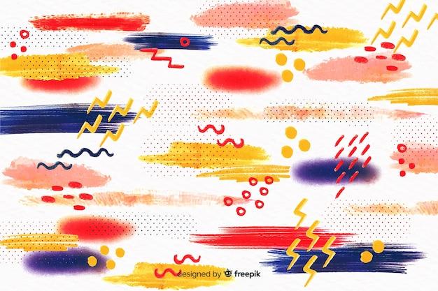 Achtergrond van de penseelstreken van memphis de abstracte