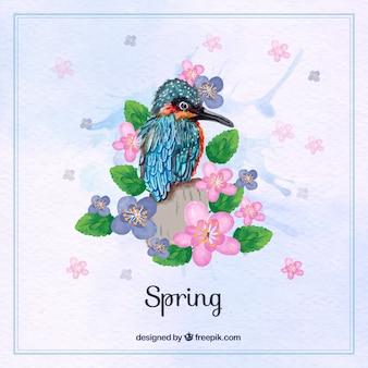 Achtergrond van de prachtige exotische vogel van aquarel met bloemen