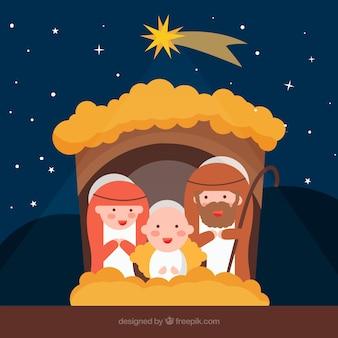 Achtergrond van de prachtige sterrenhemel met kerststal