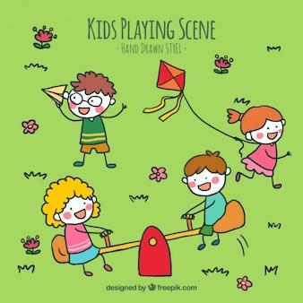 Achtergrond van de schetsen van spelende kinderen in het park