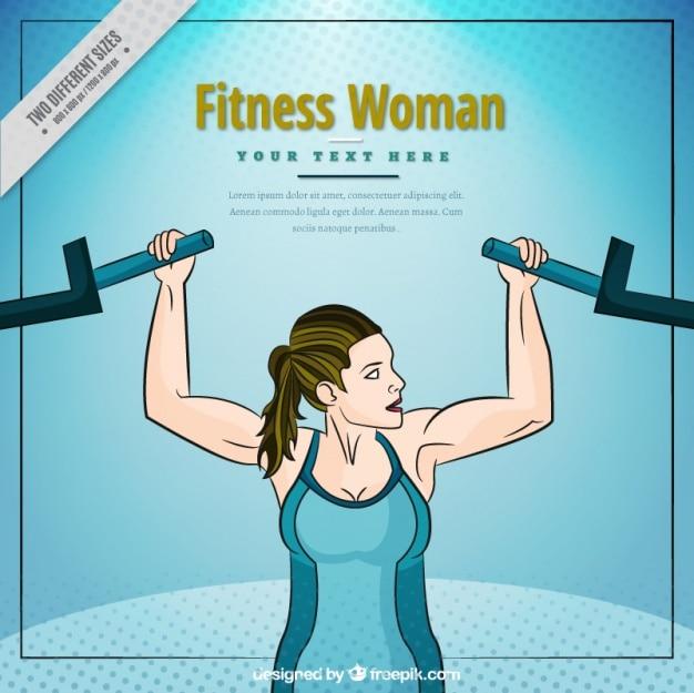 Achtergrond van de sterke vrouw met behulp van een machine voor haar armen