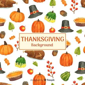 Achtergrond van de waterverf de gelukkige thanksgiving