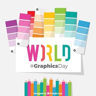 Achtergrond van de wereld de grafische dag met pantones en kleurenpotloden