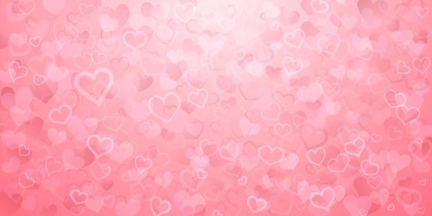 Achtergrond van doorschijnende kleine harten in roze kleuren. valentijnsdag illustratie